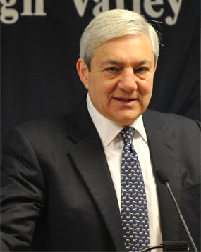 University president Graham Spanier speaks during a Penn State Board of Trustees meeting at Penn State Lehigh Valley campus in Center Valley on Friday 15, July 2011. The board is expected to set tuition for 2011-2012. ///// /// APRIL BARTHOLOMEW / THE MORNING CALL ///// //// ///// /// MC-PENN-STATE-BOARD-OF-TRUSTEES-MEETING